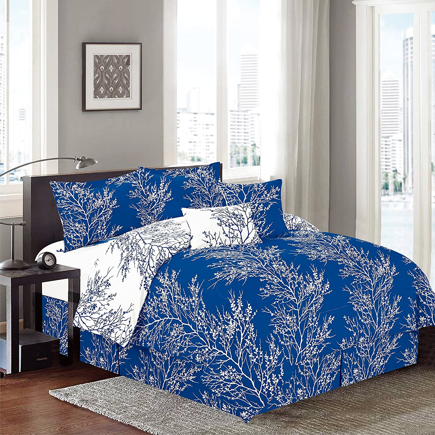 6 Piece Reversible Printed Royal Blue Branches Comforter set - Queen Size