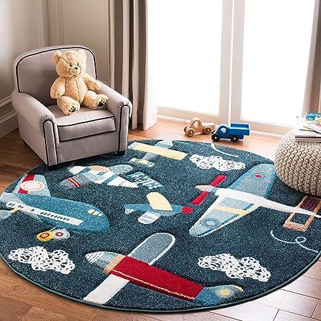 Safavieh Carousel Kids Collection Crk167n Airplane Nursery Playroom Area Rug 5 3 X 5 3 Round Navy Ivory Furniture Decor