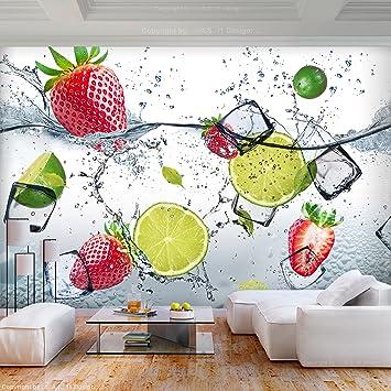 Decomonkey Fototapete Kuche Obst 250x175 Cm Xl Tapete Fototapeten Vlies Tapeten Vliestapete Wandtapete Moderne Wandbild Wand Schlafzimmer Wohnzimmer