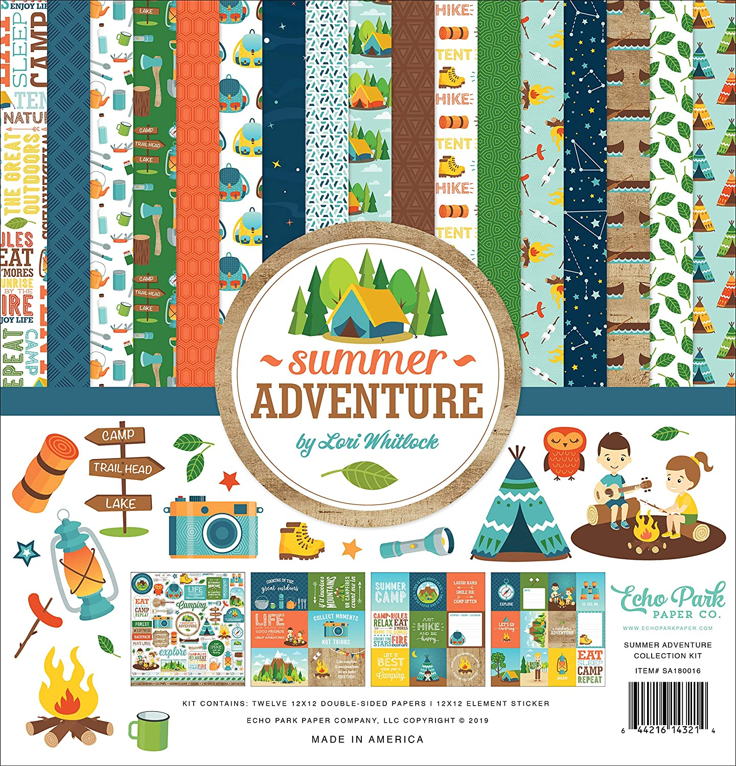 Green Orange Navy Brown Echo Park Paper Company SA180016 Summer Adventure Collection Kit Paper red Teal