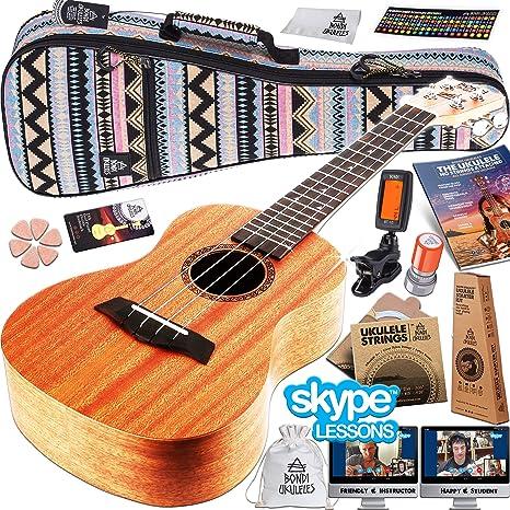 Set de principiante para aprender a tocar el ukelele; incluye clases por Skype, vídeos, funda, ...