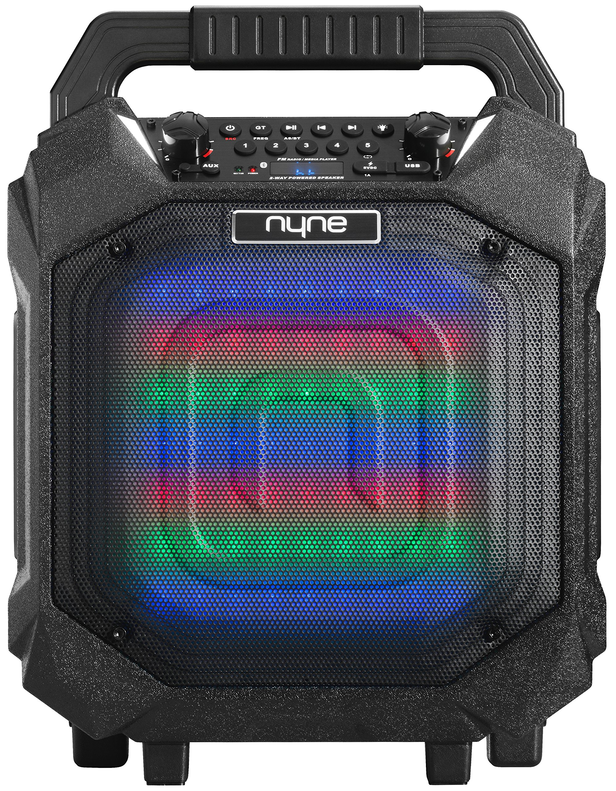 Nyne Performer + Portable Bluetooth Speaker Featuring FM Tuner, Wired Microphone + Guitar Input, LED Lights, Retractable Handle and Wheels