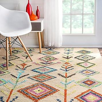 Amazon Com Contemporary Hand Tufted Wool Moroccan Triangle Multi