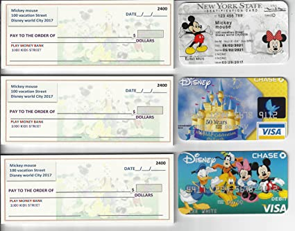 Play FAKE Checks40 Mickey Mouse Drivers License 2 DISNEY Credit Cards