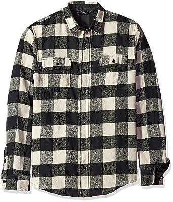 fad78123bd6 Burnside Men s Vector Buffalo Long Sleeve Button Down Solid Flannel Shirt