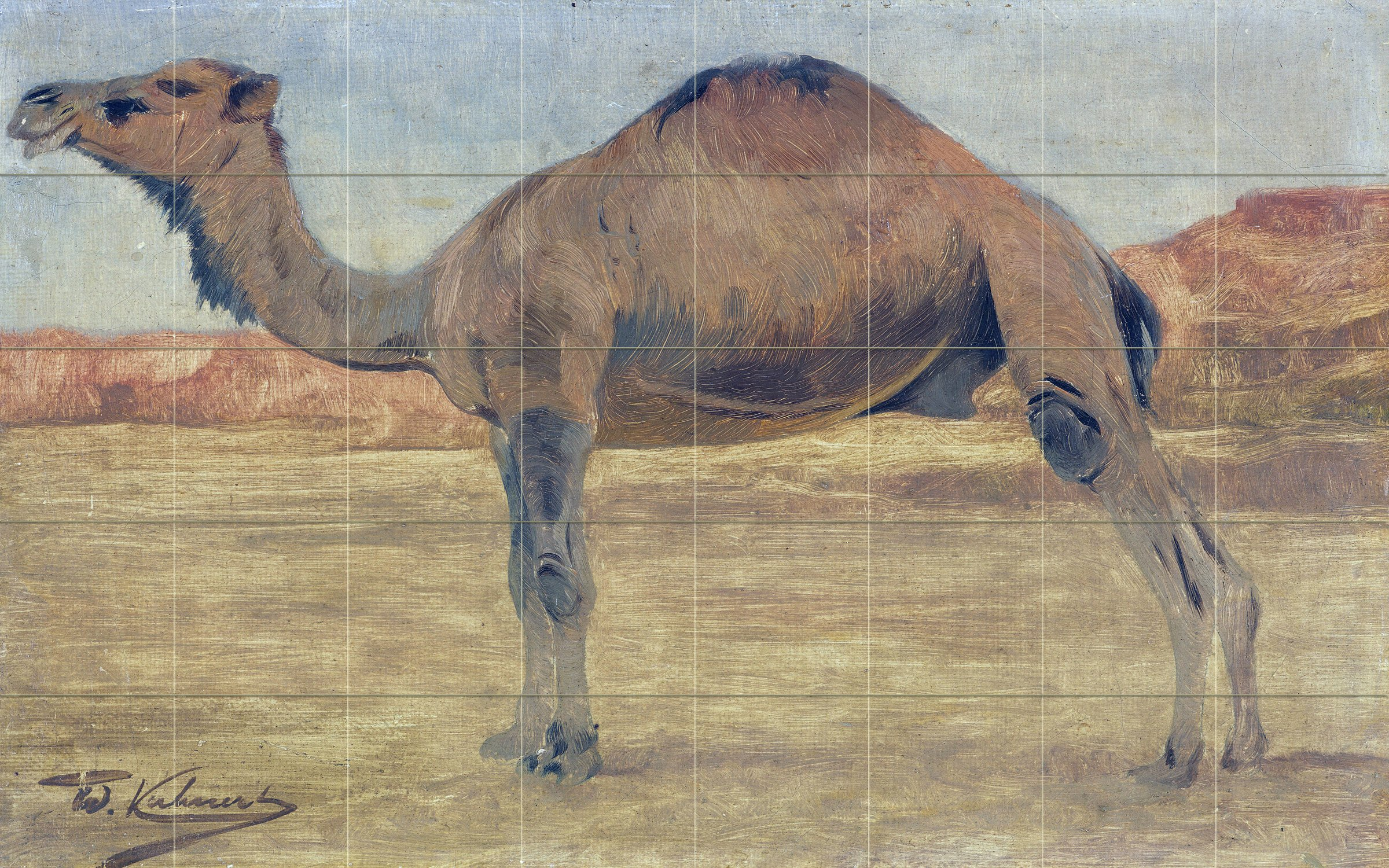 Landscape africa dunes camel by Wilhelm Kuhnert Spielende Tile Mural Kitchen Bathroom Wall Backsplash Behind Stove Range Sink Splashback 8x5 8'' Ceramic, Matte