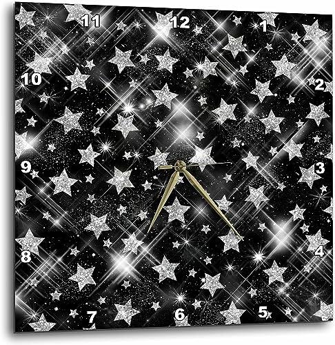 3dRose dpp_41083_2 Glitter Stars Silver-Wall Clock, 13 by 13-Inch
