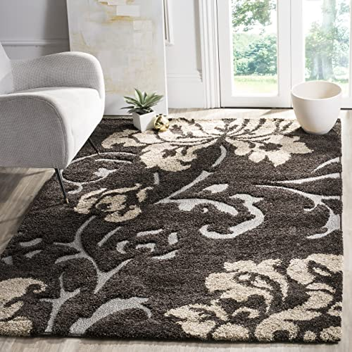 Safavieh Florida Shag Collection SG458-2879 Dark Brown and Smoke Area Rug 4 x 6