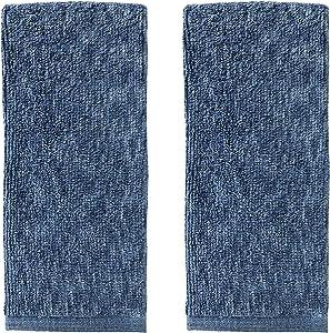 SKL HOME by Saturday Knight Ltd. Vern Yip Shibori Stripe 100% Turkish Cotton Hand Towel Set, Navy 2 Piece
