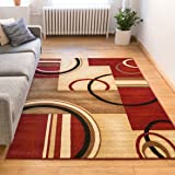 "Deco Rings Red Geometric Modern Casual Area Rug 8x10 8x11 ( 7'10"" x 9'10"" ) Easy to Clean Stain / Fade Resistant Shed Free Abstract Contemporary Color Block Boxes Lines Soft Living Dining Room Rug"