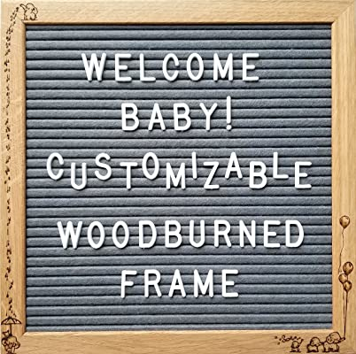 Customizable Baby Felt Letter Board Set with Stand, 340 White Letters, Bag and COA - Hand Woodburned Baby Elephants - Dark Grey Felted Board in a 10x10 Inch Oak Frame - Shower Gift for Baby's Room