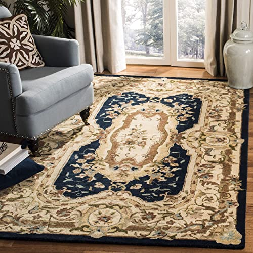 Safavieh Empire Collection EM824B Handmade Wool Area Rug, 8 3 x 11 , Navy Beige