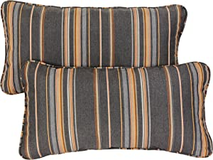 Mozaic AZPS2580 Indoor Outdoor Sunbrella Lumbar Pillows with Corded Edges, Set of 2, 12 x 24 inches, Grey & Orange Stripes