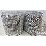 2 X Silver Diamond Rhinestone Ribbon Wrap BULK 30 feet - Wedding Decorations, Party Supplies