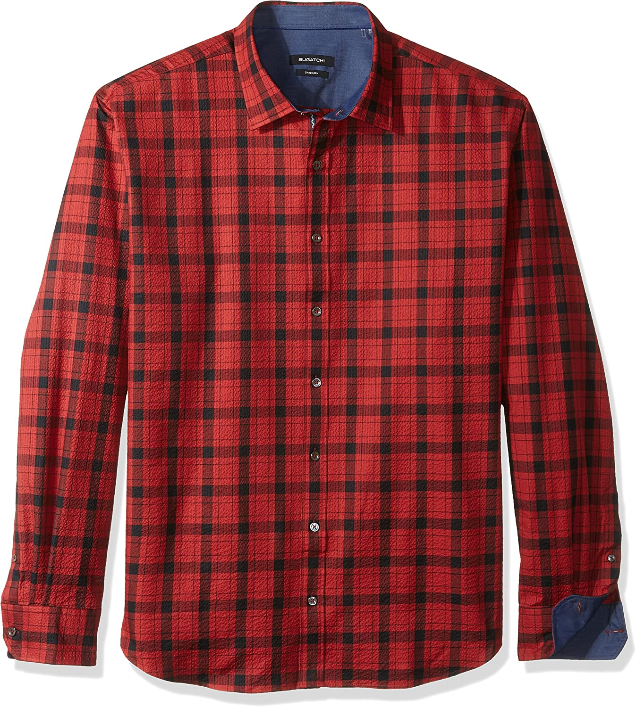 Bugatchi Mens Seersucker Long Sleeve Shaped Fit Point Collar Shirt