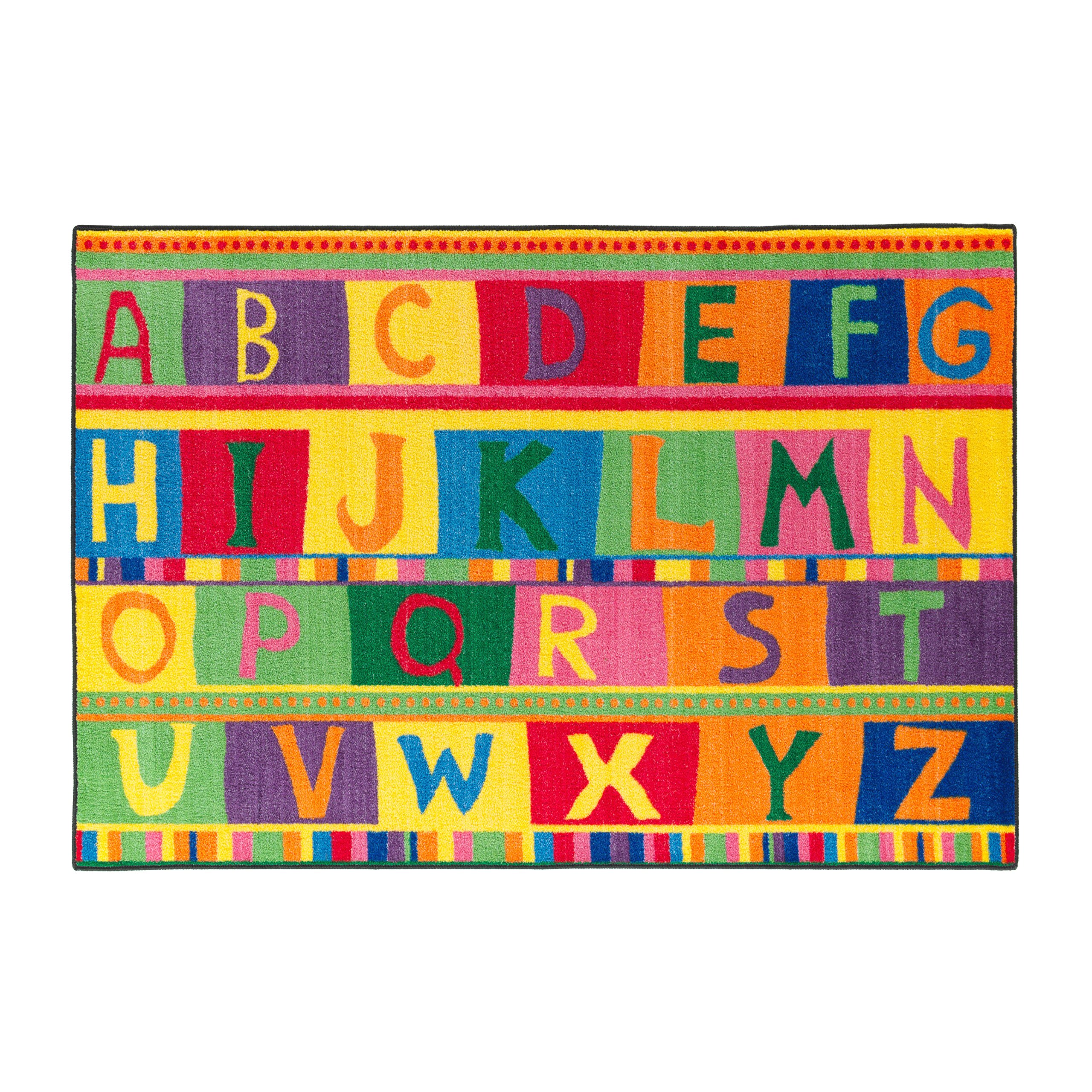 Flagship Carpets CE192-22W ABC Tapestry, Easy Cost Easy Care Washable Collection, Children's Classroom Educational Carpet, 4' x 6', 48'' Length, 72'' Width, Multi-Color