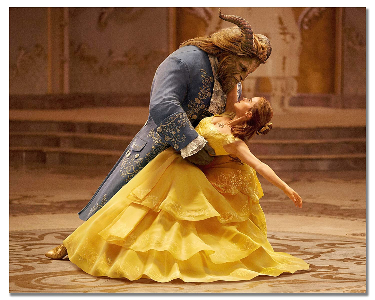 Beauty and the Beast Movie Prints dance waltz in yellow dress Emma Watson and Dan Stevens