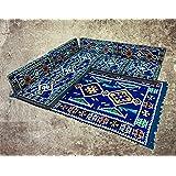 9 Teilige Set Sark Kösesi Orientalische Sitzecke, Sitzkissen Set Blau Komplett gefüllt