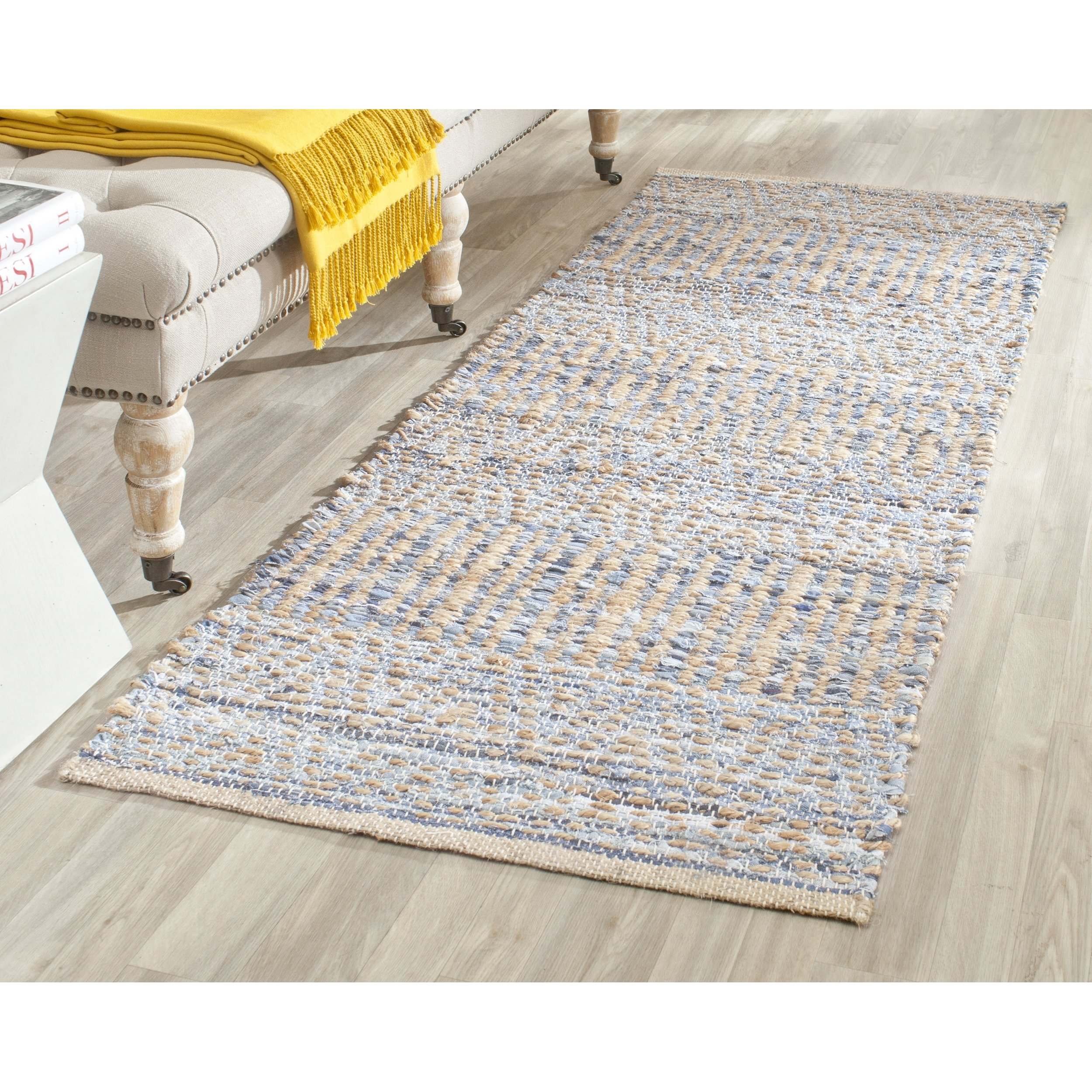 Safavieh Cape Cod Collection CAP353A Hand Woven Flatweave Natural and Blue Jute Runner (2'3'' x 14')
