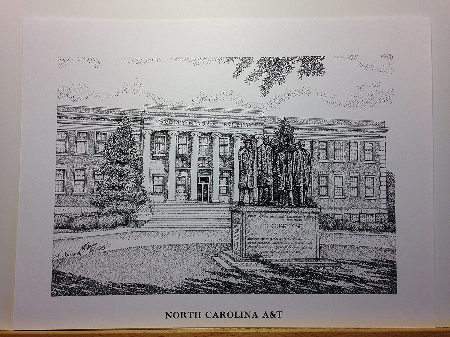 North Carolina A&T - February One 9x12 pen and ink print