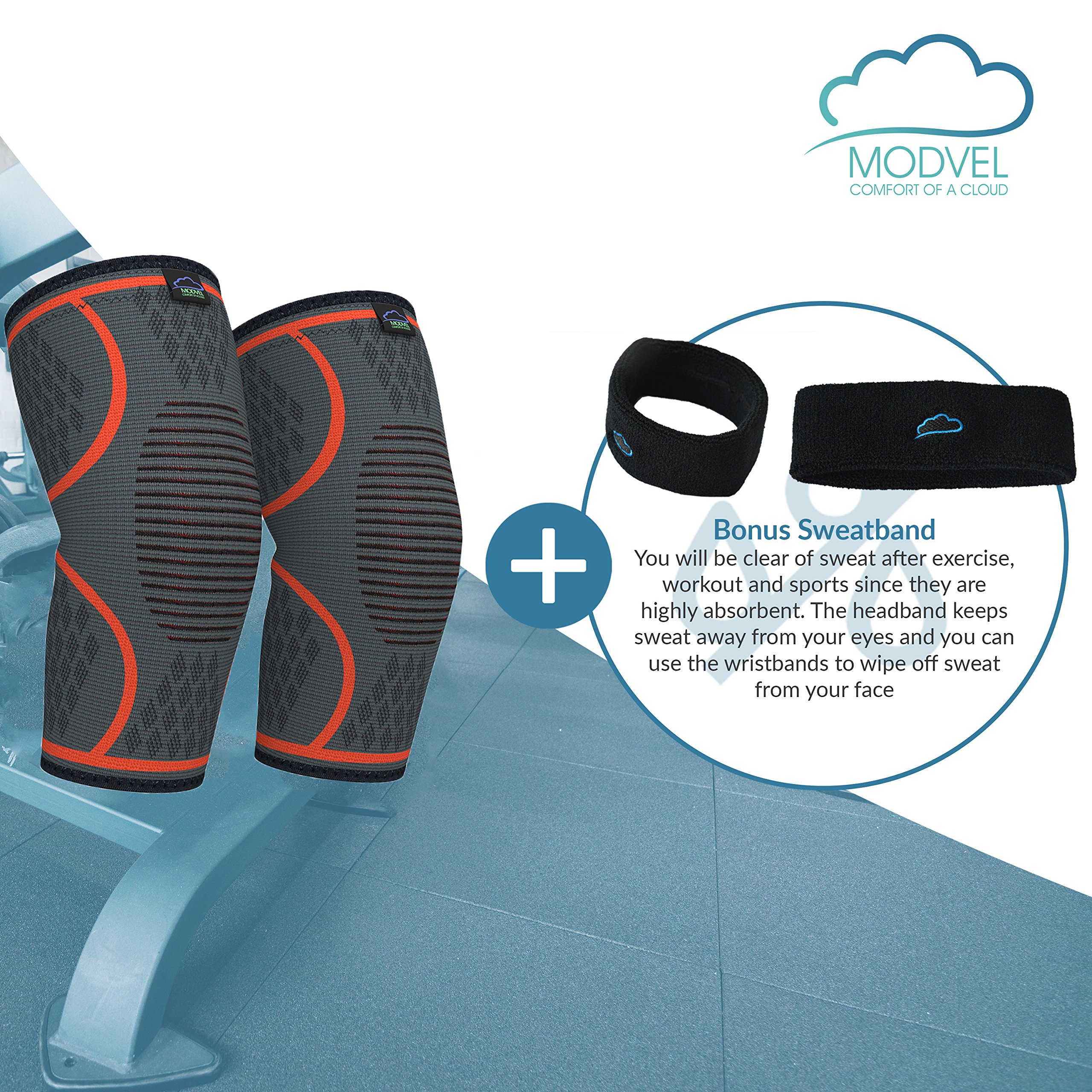 Modvel Compression Knee Sleeve (1 Pair) - Ultra Flexible, Comfortable Knee Brace for Men and Women, Great for All Athletics, Volleyball, ACL, Stabilizer for Arthritis and Knee Pain Relief, M (MV-111) by Modvel (Image #2)
