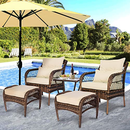 FUNKOCO 5 Pieces Patio PE Rattan Conversation Chair Set