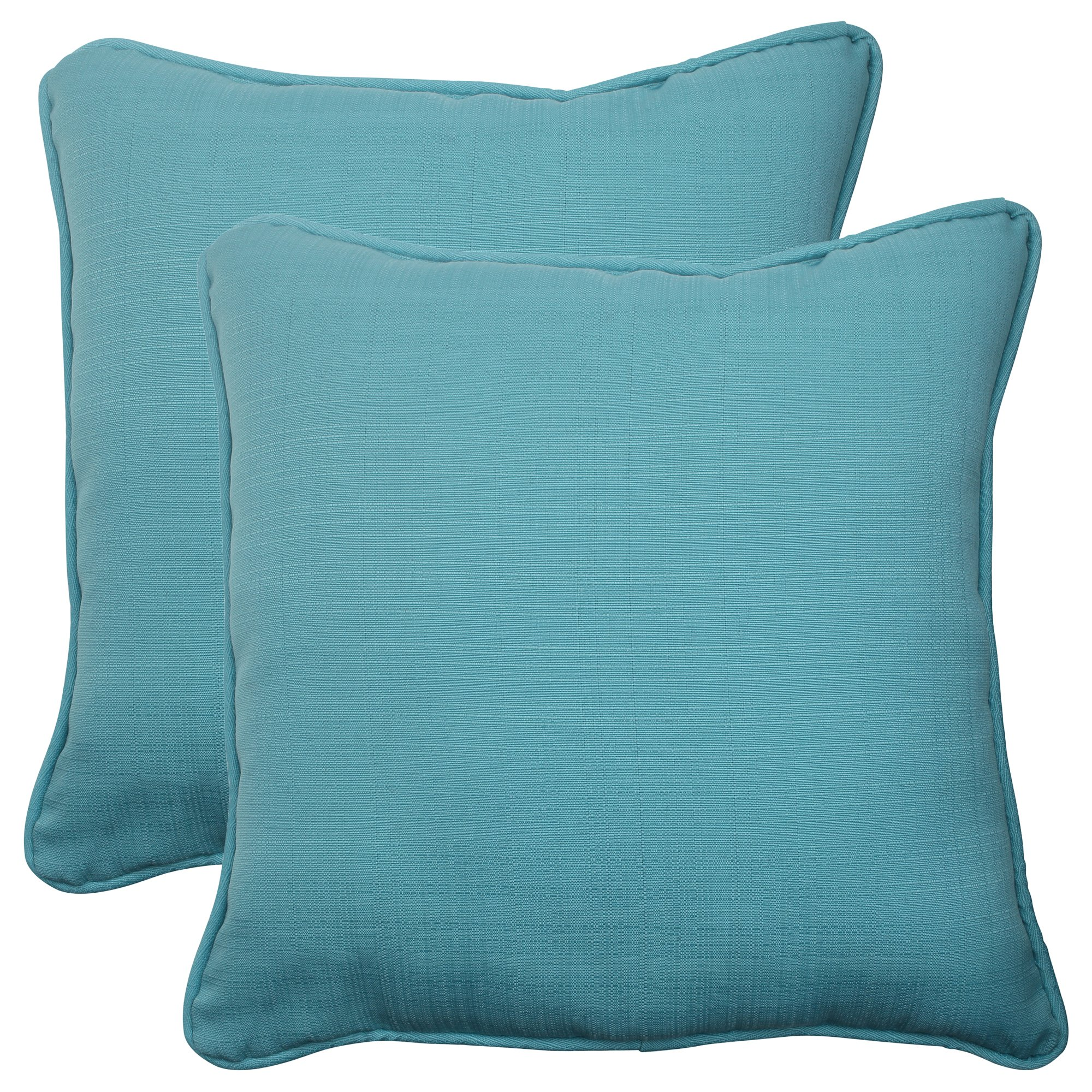 Pillow Perfect Outdoor Forsyth Corded Throw Pillow, 18.5-Inch, Turquoise, Set of 2