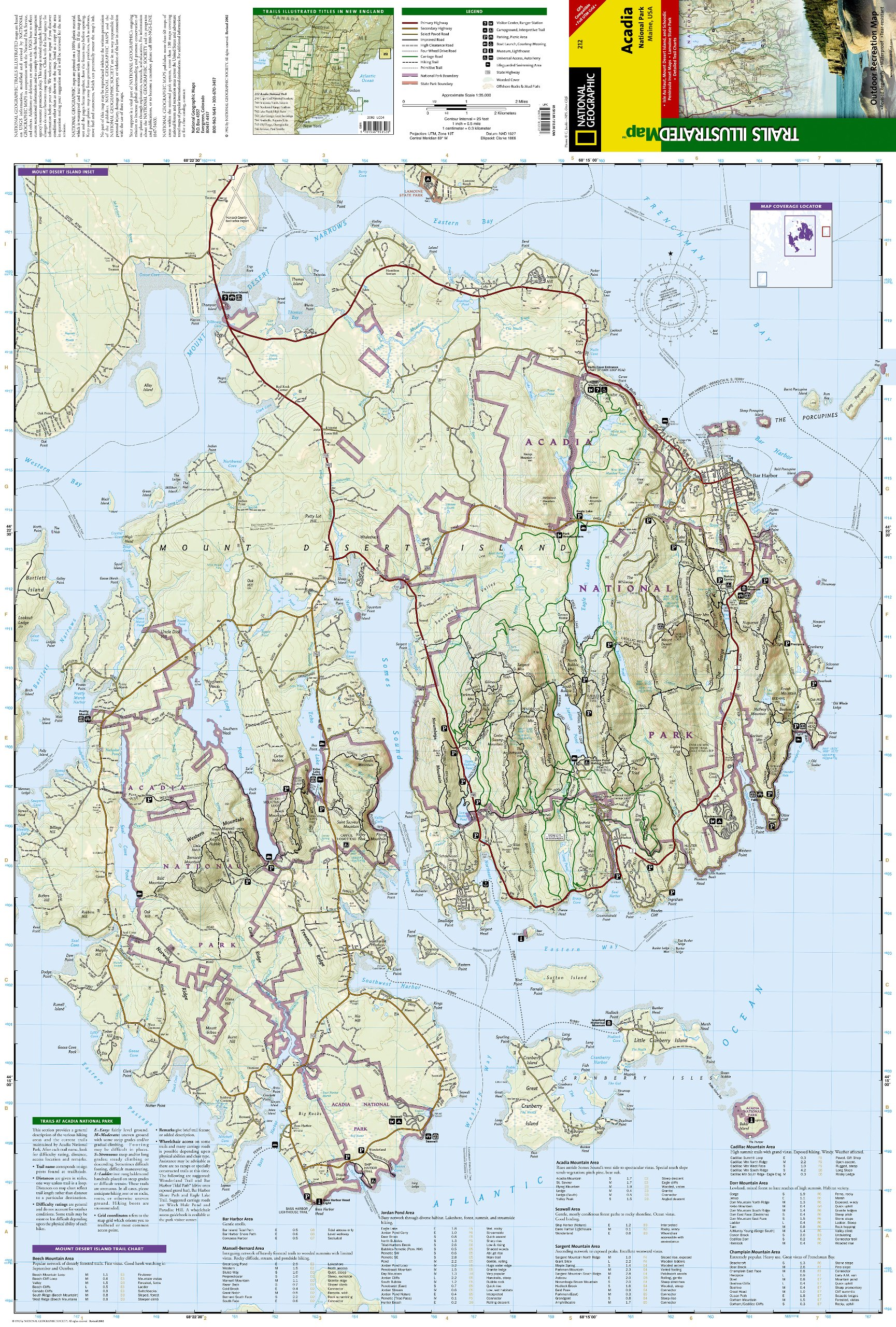 Acadia National Park National Geographic Trails Illustrated Map
