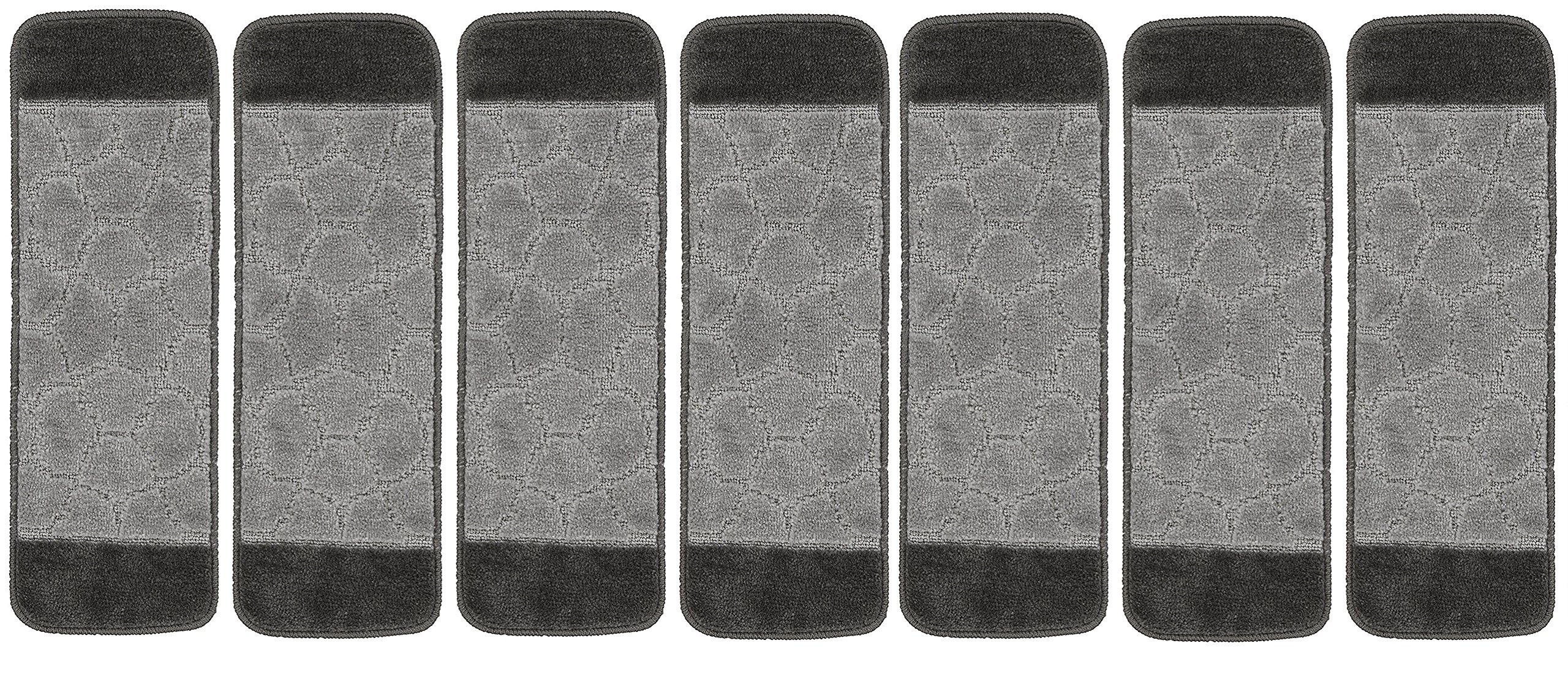 Ottomanson Softy Design Set of 7 Skid Resistant Rubber Backing Non Slip Carpet (9''x26'') Stair Tread Mats 7 Piece Set 9 inch by 26 inch, 9'' x 26'', Grey