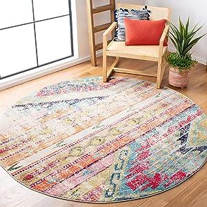 "Safavieh Monaco Collection MNC222F Modern Bohemian Distressed Area Rug, 6'7"" Round, Multicolored"