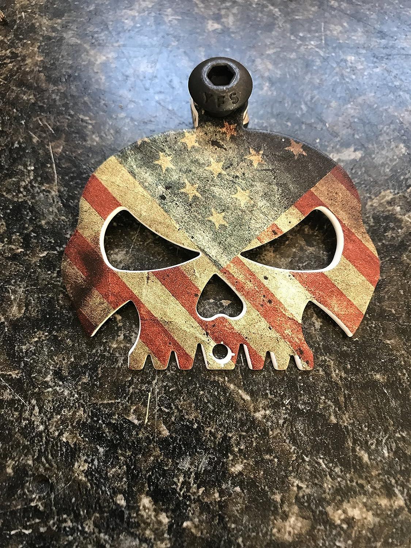 Rustic American Flag Skull Bell Hanger//Mount for Motorcycle Bolt /& Ring Included fits all bikes Road King Street Glide Harley Davidson