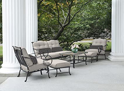 Oceana 6 Piece Patio Set In Silver Lining With A Stone Top Coffee Table