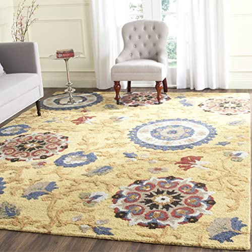 Safavieh Blossom Collection BLM401B Handmade Floral Vines Gold and Multi Premium Wool Area Rug 4 x 6
