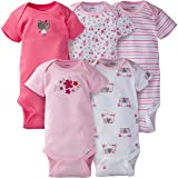 Gerber Baby Girls' 5-Pack Variety Onesies
