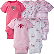 Gerber Baby Girls 5 Pack Onesies, Little Flowers, 3-6 Months