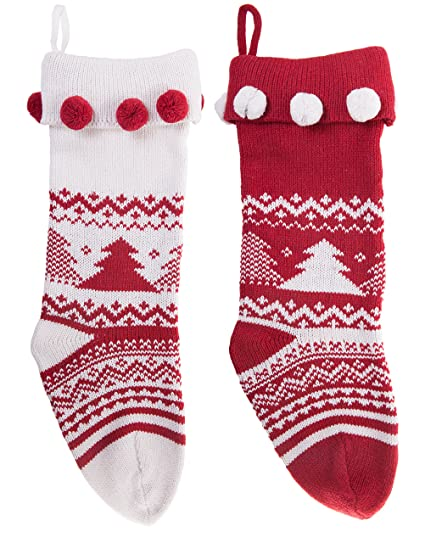 knitted christmas stockings traditional holiday season santa socks classic sweater tree pattern scandinavian decoration for mantel - Knitted Christmas Stockings