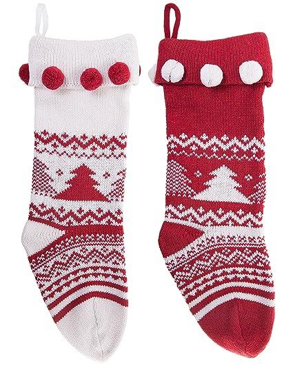 Knitted christmas stockings traditional holiday season santa socks classic sweater tree pattern scandinavian decoration for mantel