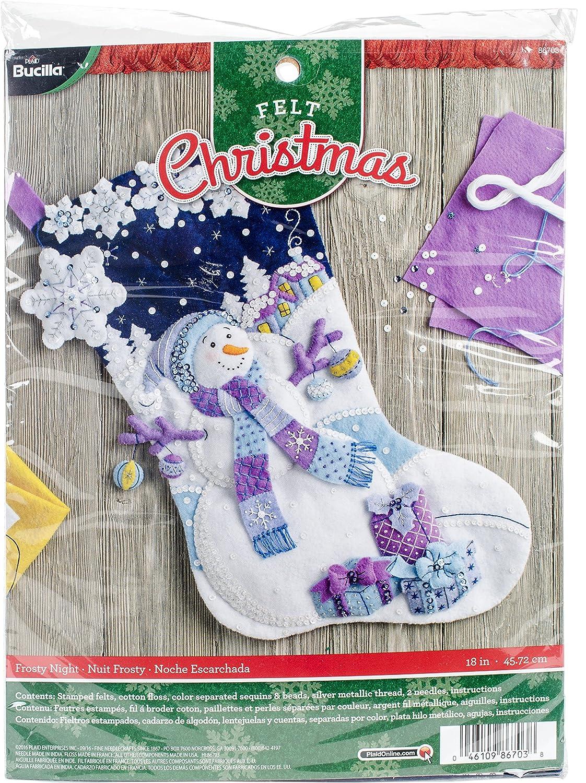 Bucilla Felt Applique Stocking Kit (18-Inch), 86703 Frosty Night Plaid Enterprises Inc.
