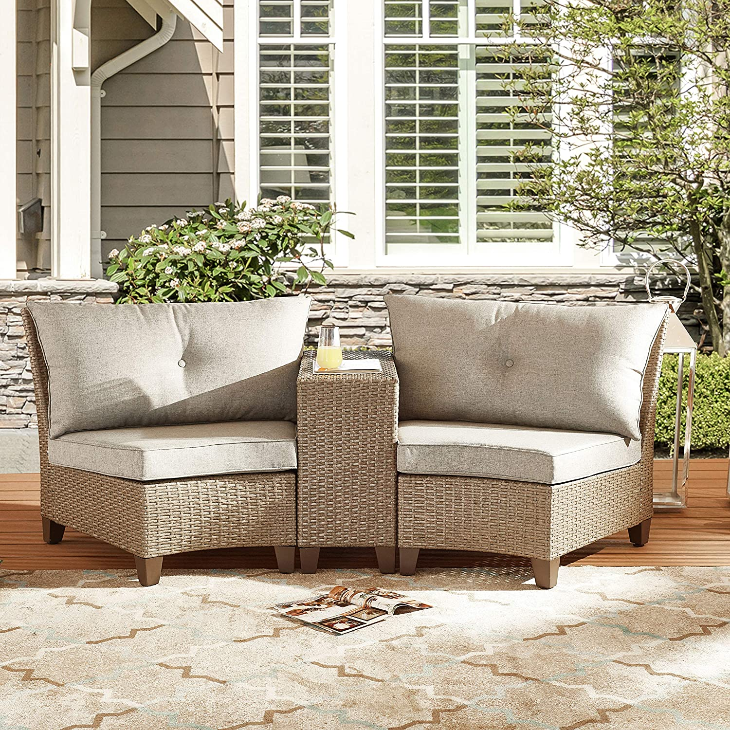 LOKATSE HOME 3-Piece Outdoor Wicker Rattan Sofa Furniture Patio Half-Moon Sectional Woven Conversation Set with Removable Grey Cushions, Brown