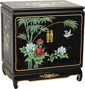 Oriental Furniture Black Lacquer End Table