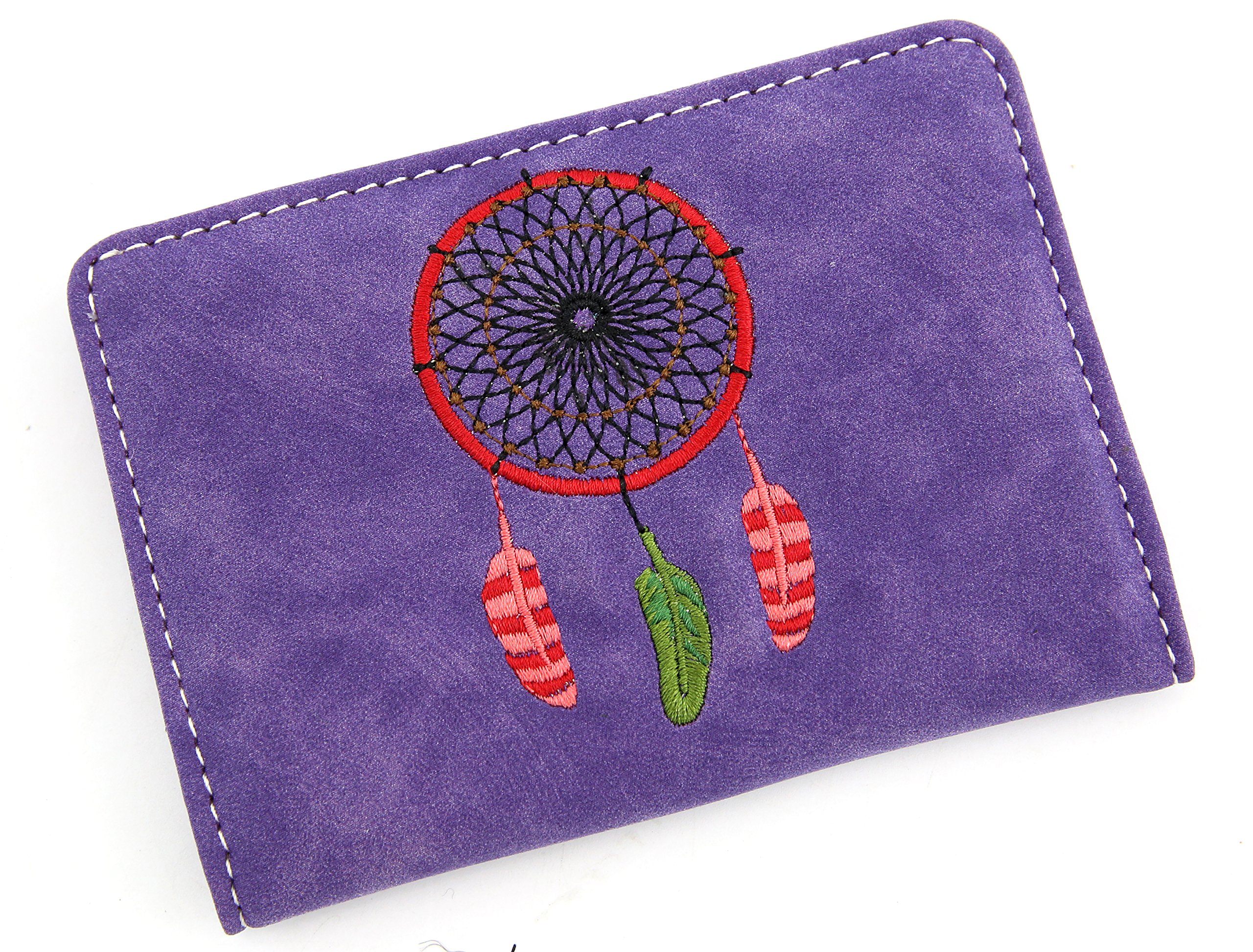 Travel Passport Holder Dream Catcher Cover Slim Id Card Case for Men & Women Travel Wallet Securely Holds Business Cards Credit Cards (Purple)