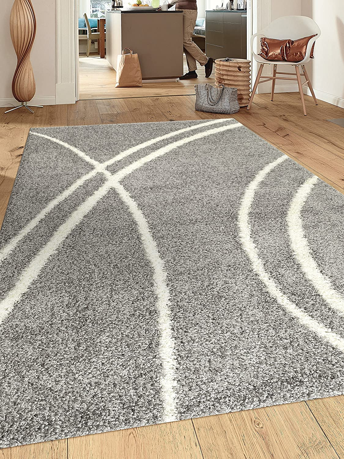"Cozy Contemporary Stripe L.Grey-White 3'3"" X 5' Indoor Shag Area Rug"
