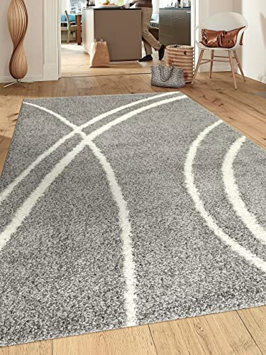 Cozy Contemporary Stripe L.Grey-White 3 3 X 5 Indoor Shag Area Rug