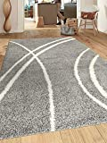"Rugshop Cozy Contemporary Stripe Indoor Shag Area Rug, 5'3"" x 7'3"", Light Gray/White"
