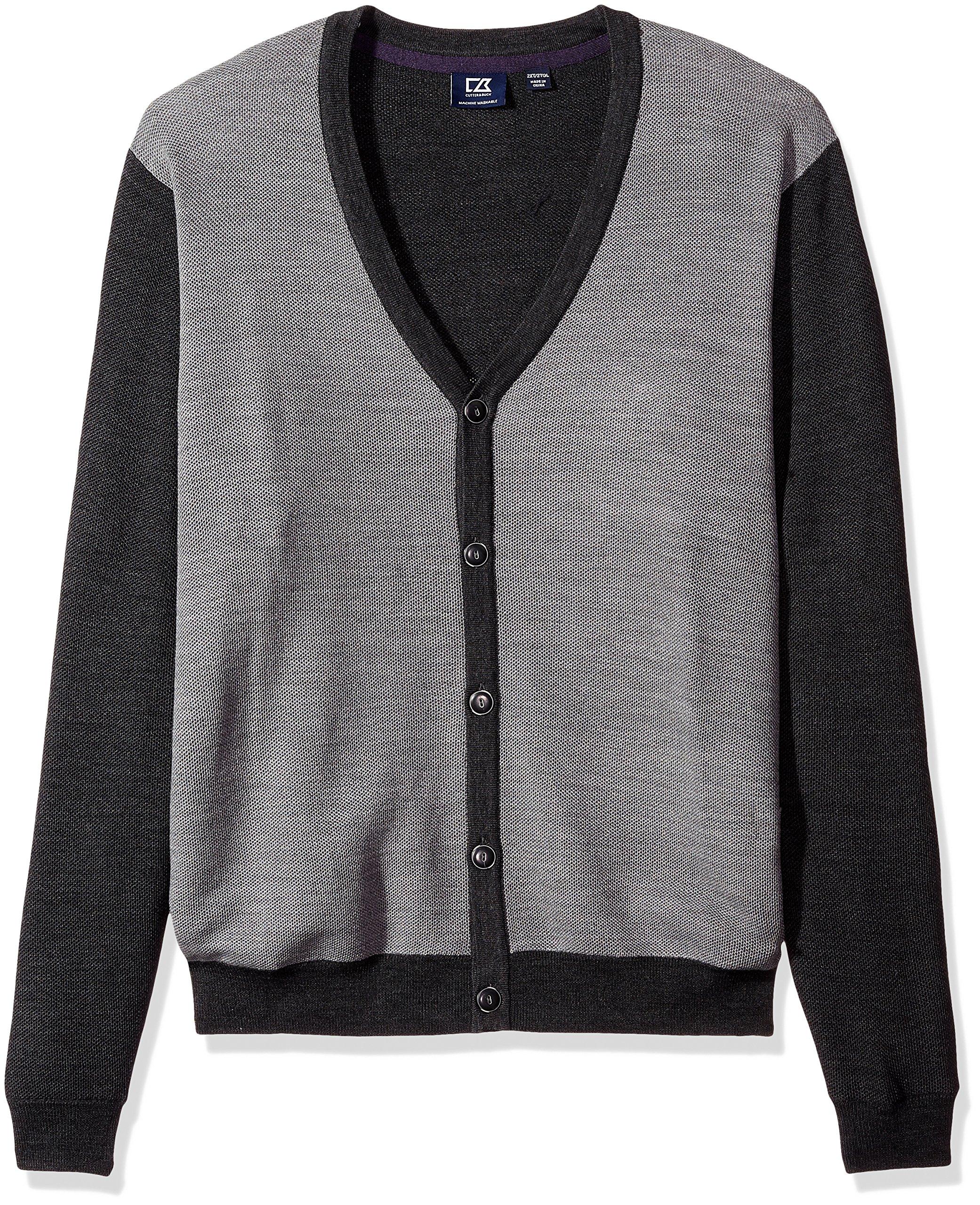 Cutter & Buck Men's Big-Tall Cornish Cardigan Sweater, Charcoal Heather, 5X/Big