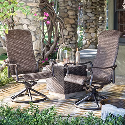 Amazon Com Outdoor Resin Wicker Dark Brown Swivel Conversation