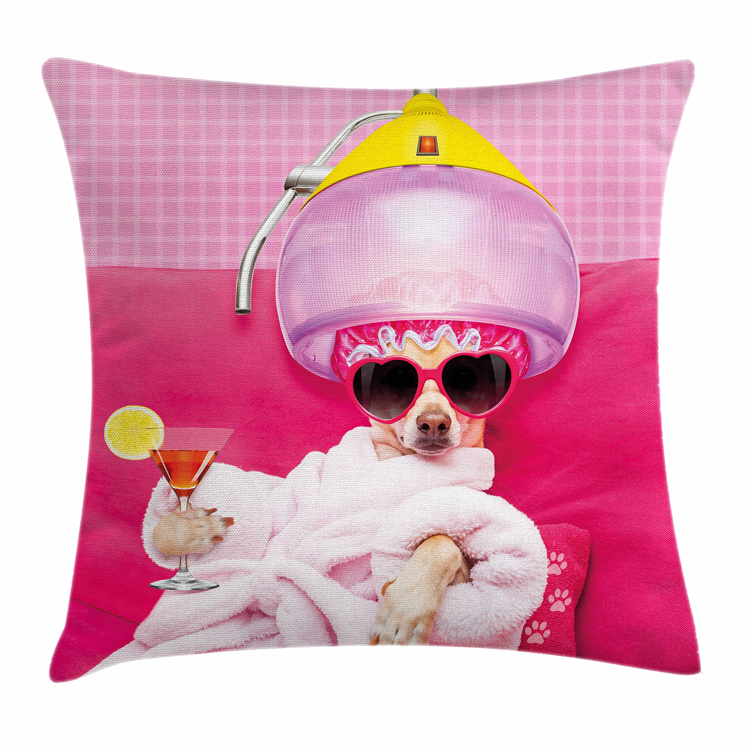 Lunarable Funny Throw Pillow Cushion Cover, Chihuahua Dog Relaxing and Lying in Wellness Spa Fashion Puppy Comic Print, Decorative Square Accent Pillow Case, 28 X 28 inches, Magenta Baby Pink