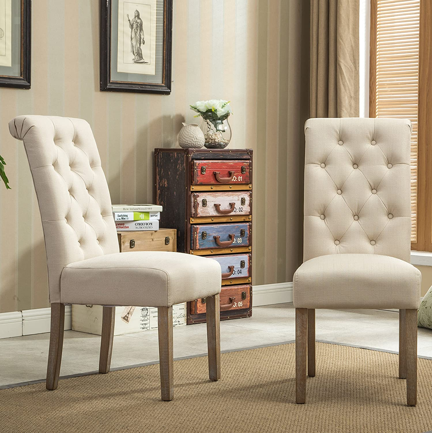 Roundhill Furniture Habit Solid Wood Tufted Parsons Dining Chair Set of 2 , Tan