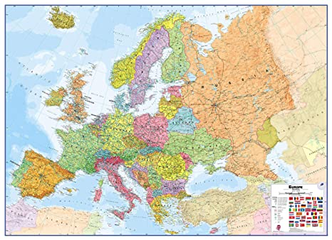 Maps International Large Political Europe Educational Wall Map Poster -  Laminated - 53 x 39