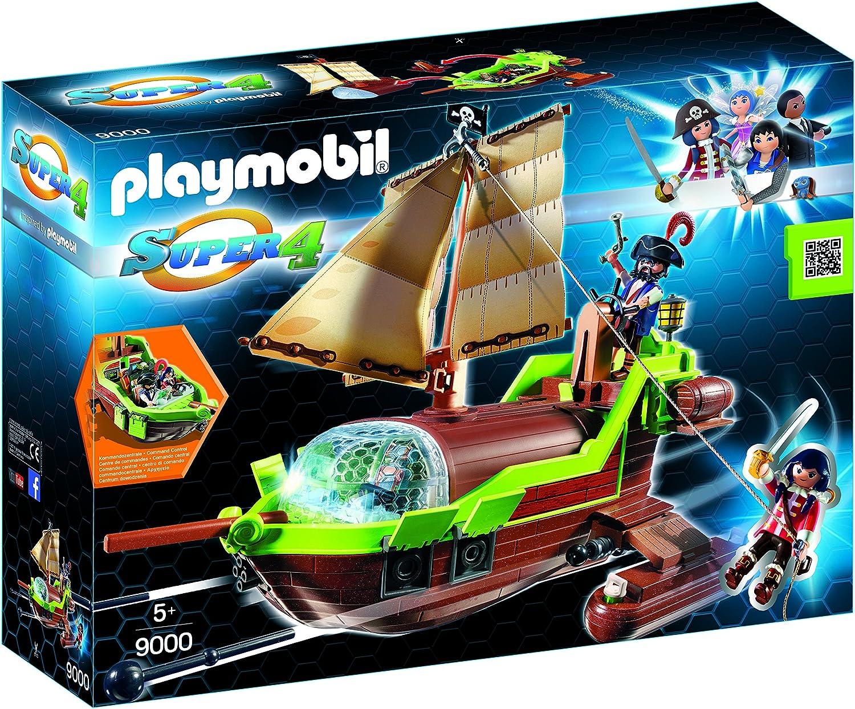 PLAYMOBIL-Pirata Camaleón con Ruby y un Barco Personajes de la serie Super 4, multicolor, 51,5 x 14,2 x 38,5 cm 9000